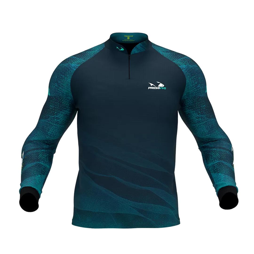 Camiseta de Pesca Masculina Presa Viva com Proteção Solar UV30+ Tucunaré Azul 04