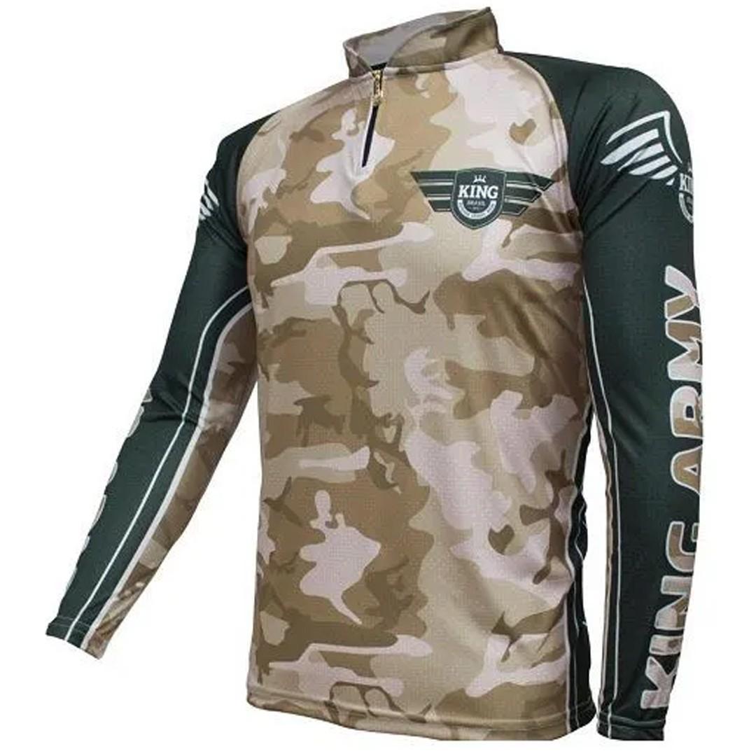 Camiseta de Pesca Proteção Solar UV King Camuflada Exército KFF301