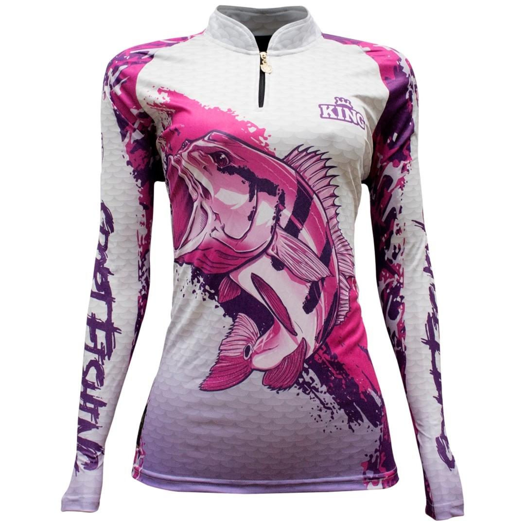 Camiseta de Pesca Proteção Solar UV King Feminina KFF631 Tucunaré Rosa