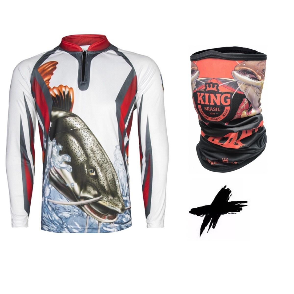 Camiseta de Pesca Proteção Solar UV King Pirarara KFF27 + Bandana Pirarara