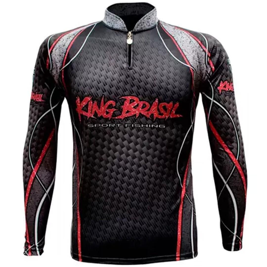 Camiseta de Pesca Proteção Solar UV King Sport Preta KFF364