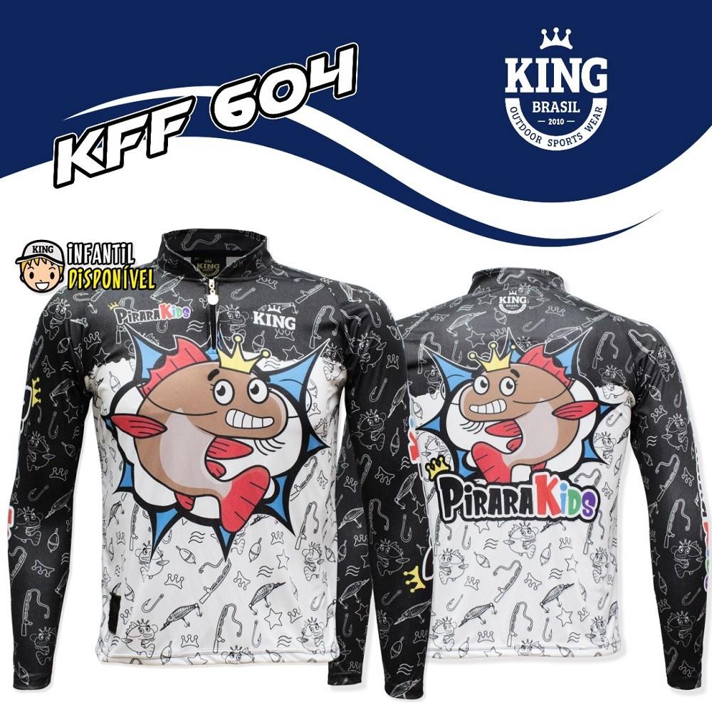 Camiseta de Pesca Proteção UV King Infantil Pirakids KFF604