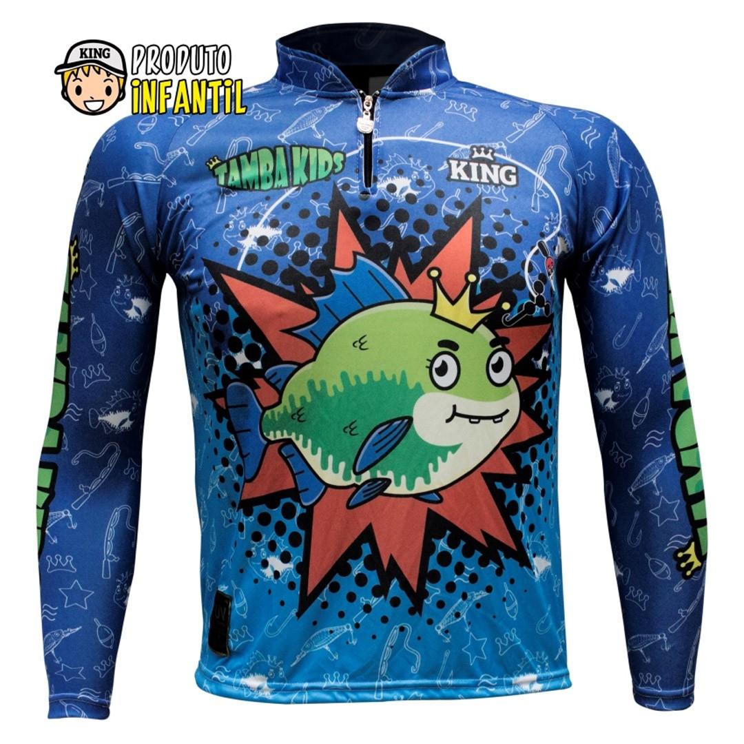 Camiseta de Pesca Proteção UV King Infantil Tambakids KFF622