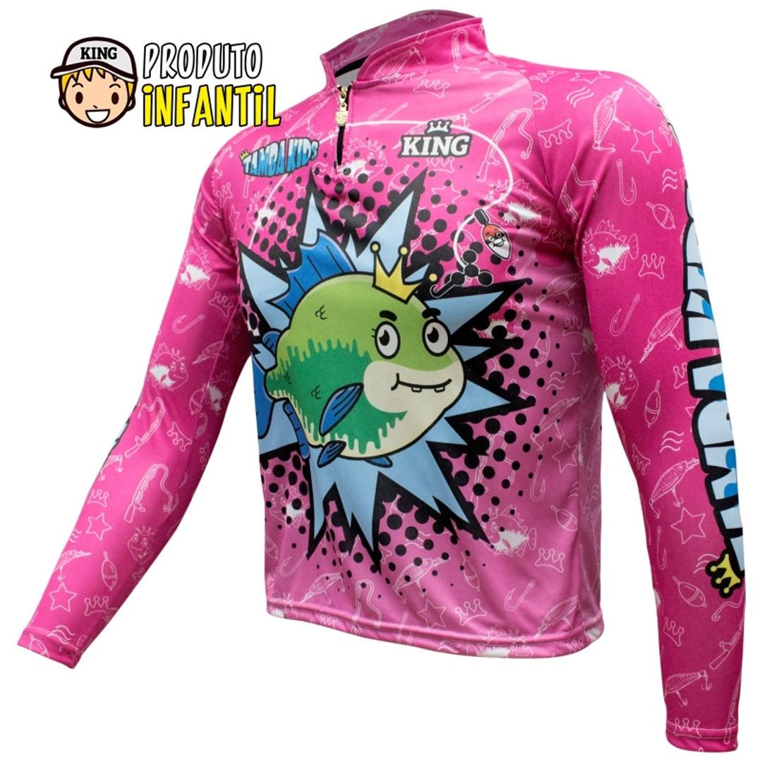 Camiseta de Pesca Proteção UV King Infantil Tambakids KFF623
