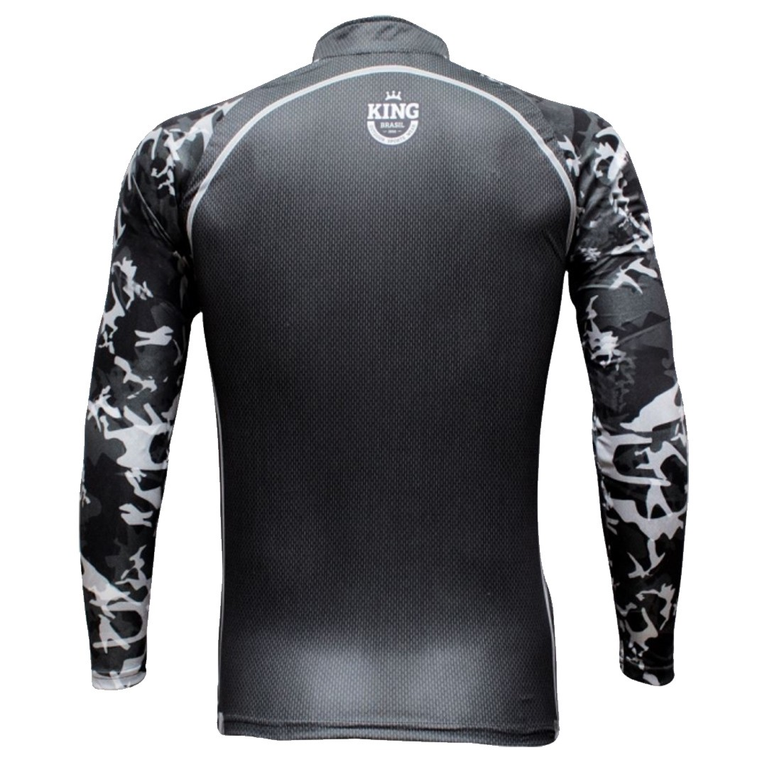 Camiseta Pesca Proteção Solar UV King Preta com Cinza Sport KFF06