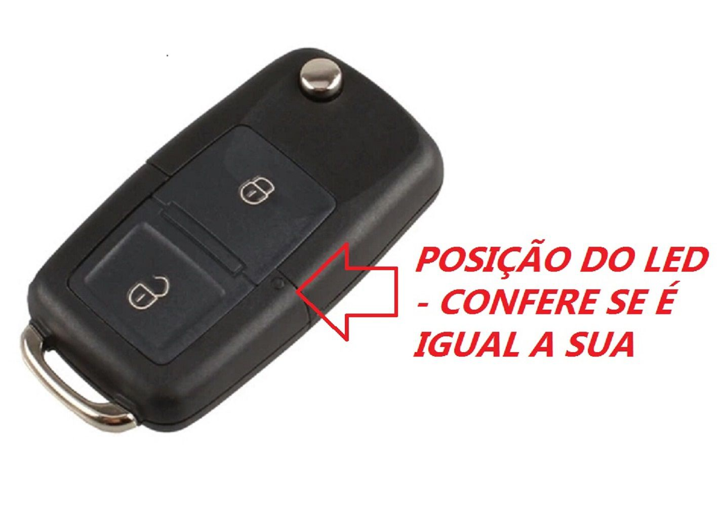 Chave Canivete Volkswagen VW Gol Golf Voyage Polo Fox Saveiro Parati 2B Lamina Emblema