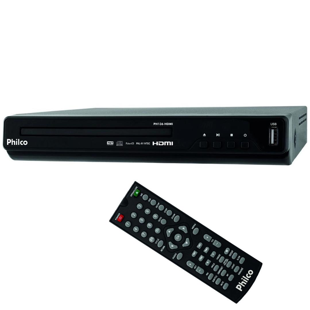 DVD Player Philco PH136 Alta Definição MP3, WMA, JPEG, Entrada USB 2.0 Controle