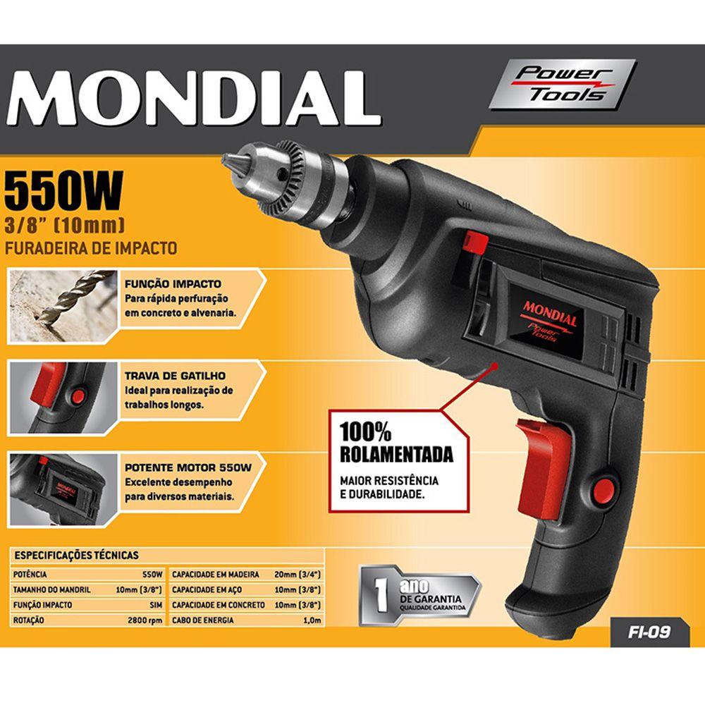 Furadeira de Impacto Mondial 3/8 550W FI09