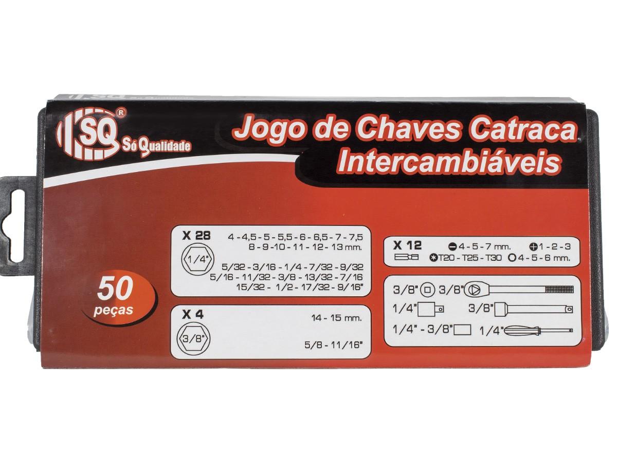 Jogo Chave Soquete 50 Peças Com Catraca Reversivel + Maleta