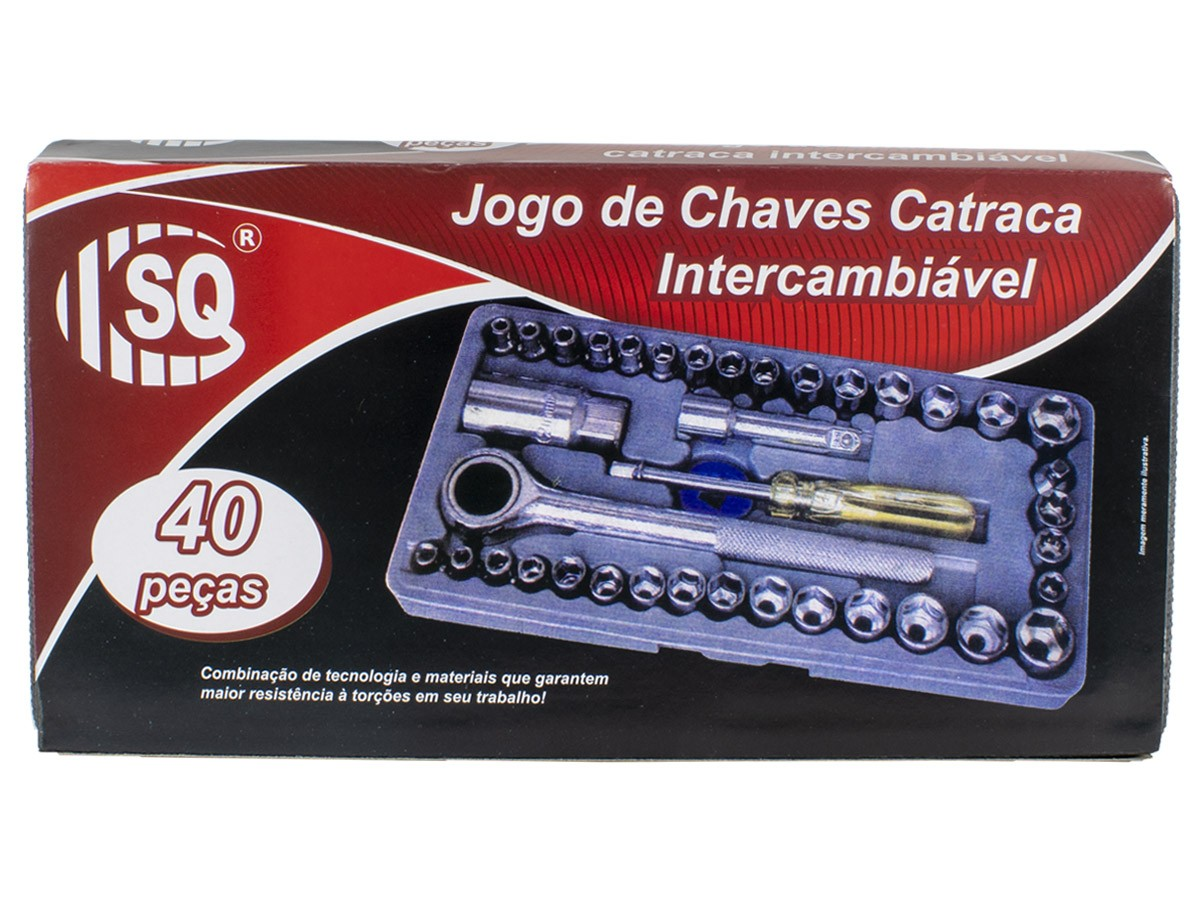 Jogo Chave Soquete Cachimbo Catraca Reversível 40 Peças com Maleta
