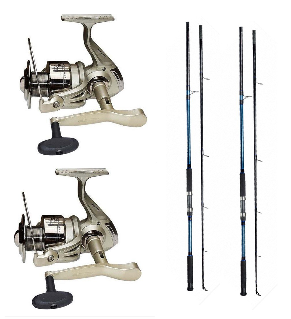 Kit 2 Molinetes Pesca Elite 4000 + 2 Varas Solara 1,80m 20L 2 Partes Azul