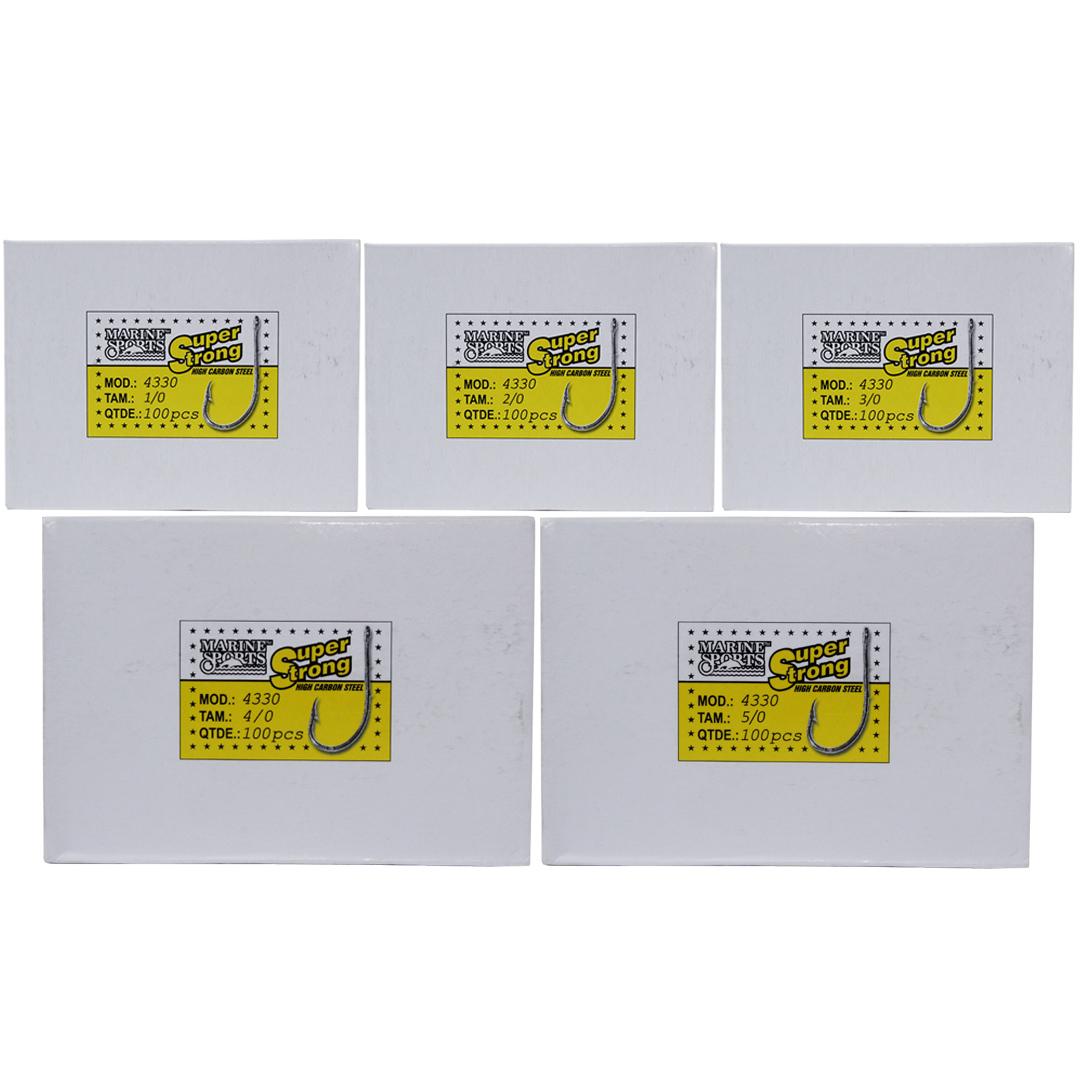 Kit Anzol Marine Sports 4330 1/0 2/0 3/0 4/0 5/0 - 500 Unidades