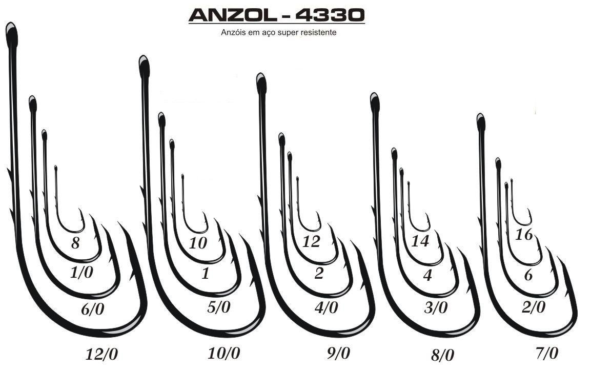 Kit Anzol Marine Sports Super Strong 4330 Nº 2 4 6 18 1/0 3/0 4/0 - 1100 Peças