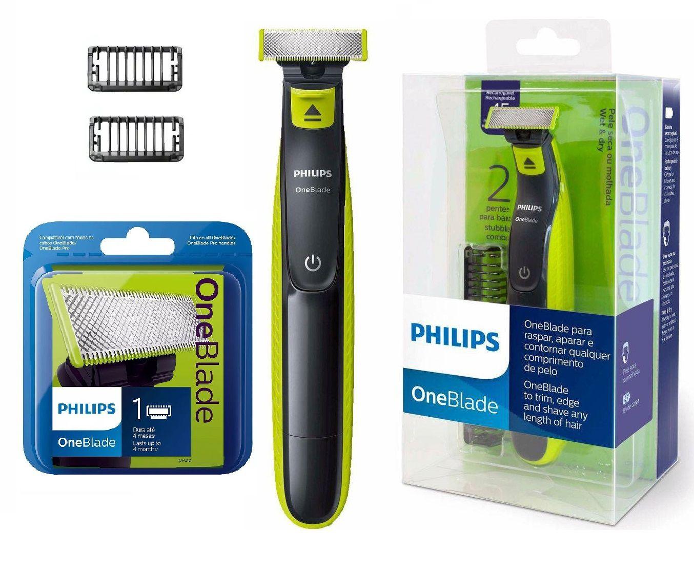 Kit Barbeador Aparador Elétrico Philips One Blade QP2521 + Refil