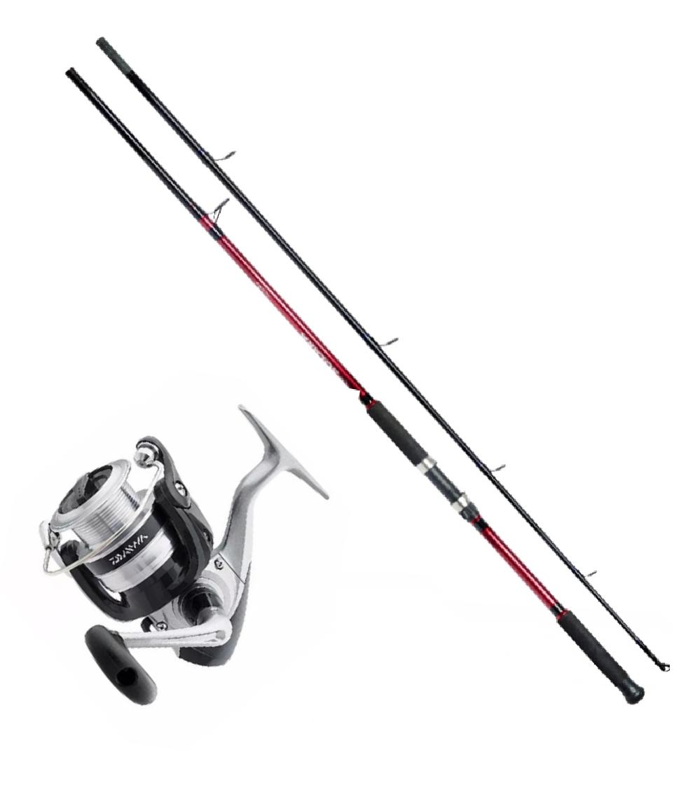 Kit Molinete Pesca Daiwa Strikeforce 2000 + Vara Solara 1,80m 2 Partes até 8 Kilos Vermelho