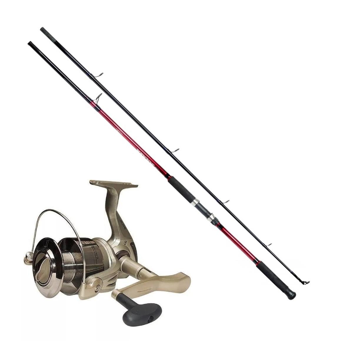 Kit Molinete Pesca Elite 5000 + Vara Solara 2,40M 25Lbs Até 12 Kilos Vermelha