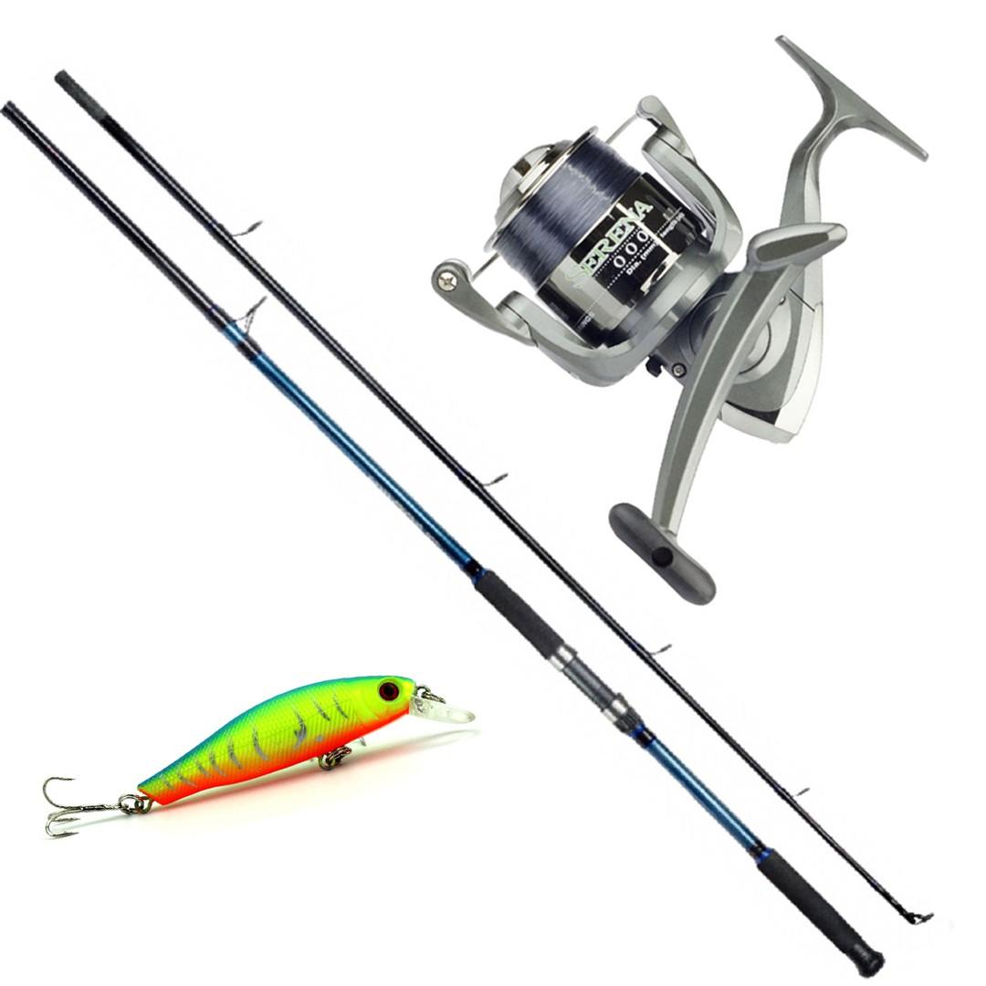Kit Molinete Pesca Serena 1000 com Linha e Vara Solara 2,10m até 6kg Azul