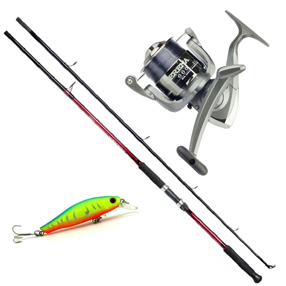 Kit Molinete Pesca Serena 1000 com Linha e Vara Solara 2,10m até 6kg Vermelho