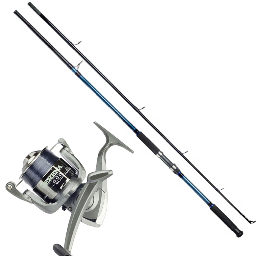 Kit Molinete Pesca Serena 6000 com Linha e Vara Solara 2,10m 2 Partes até 12Kg Azul