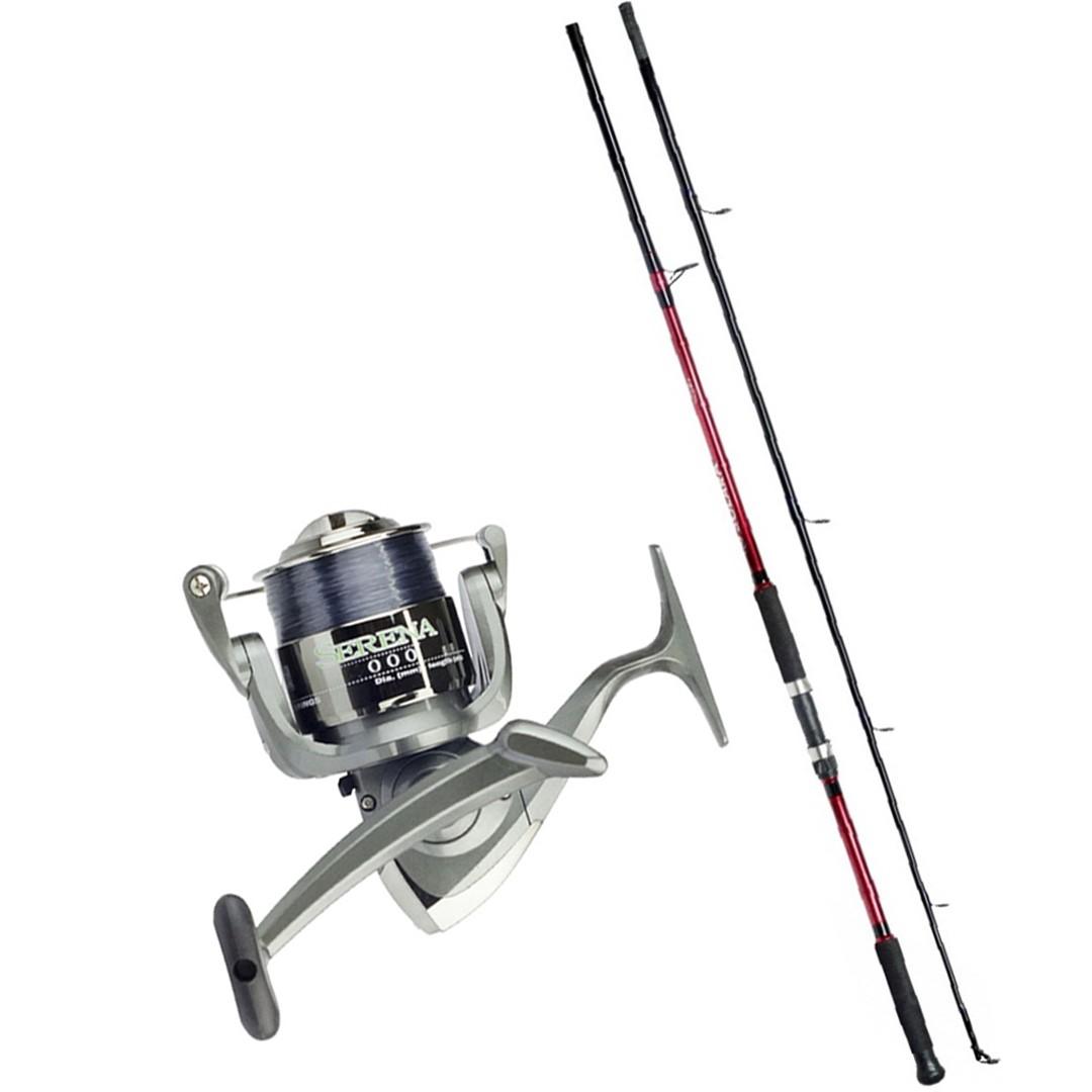 Kit Molinete Pesca Serena 6000 com Linha e Vara Solara 2,10m 2 Partes até 12Kg Vermelho