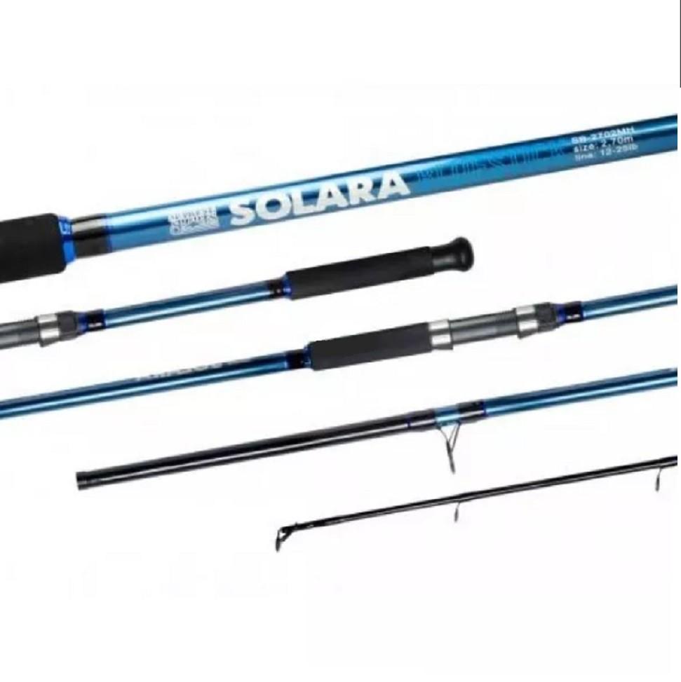 Kit Molinete Pesca Serena 6000 com Linha e Vara Solara 2,40m 2 Partes até 12Kg Azul