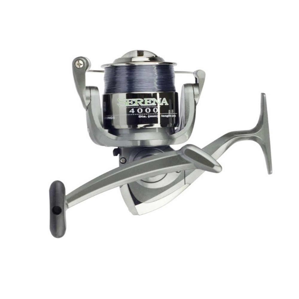 Kit Molinete Pesca Serena 6000 com Linha e Vara Solara 2,40m 2 Partes até 12Kg Vermelho