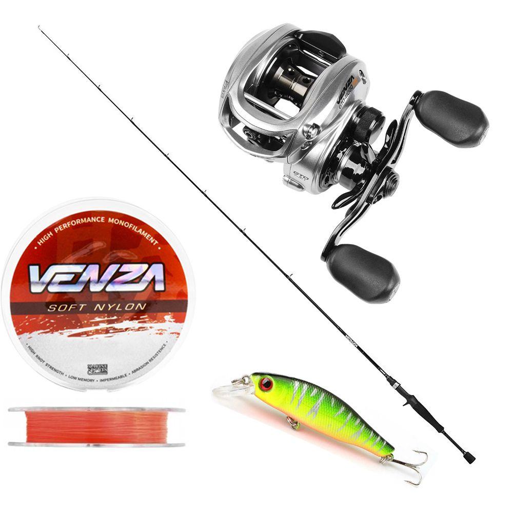 Kit Pesca Carretilha Venza 11000 Vara Carbono 1,70m 7-15Lbs Linha Soft