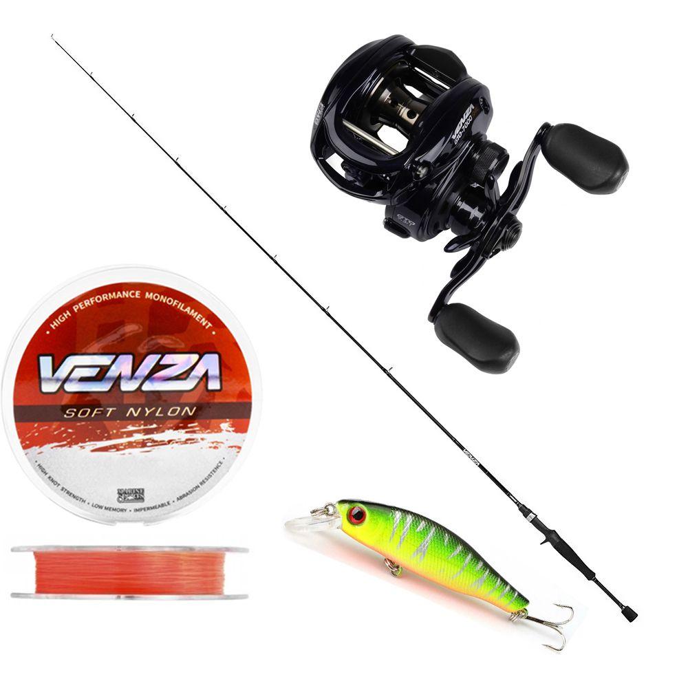 Kit Pesca Carretilha Venza 7000 Vara Carbono 1,70m 15-30Lb Linha Soft