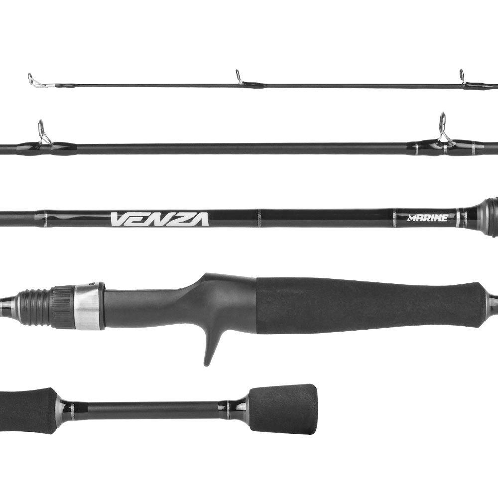 Kit Pesca Carretilha Venza 7000 Vara Carbono 1,83m 15-30Lb Linha Soft