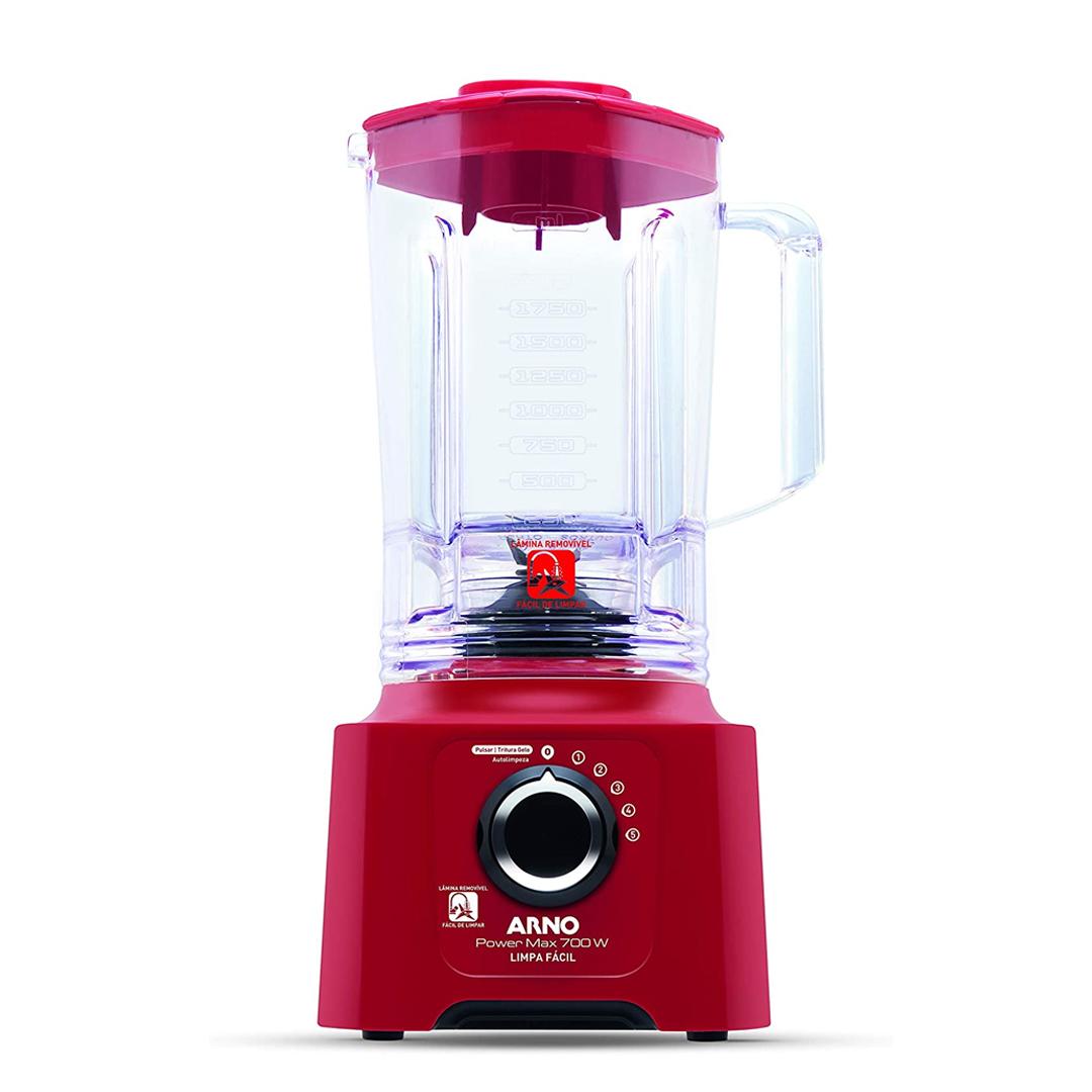Liquidificador Arno Power Max 700 Limpa Fácil LN61 5 Velocidades 700W Vermelho