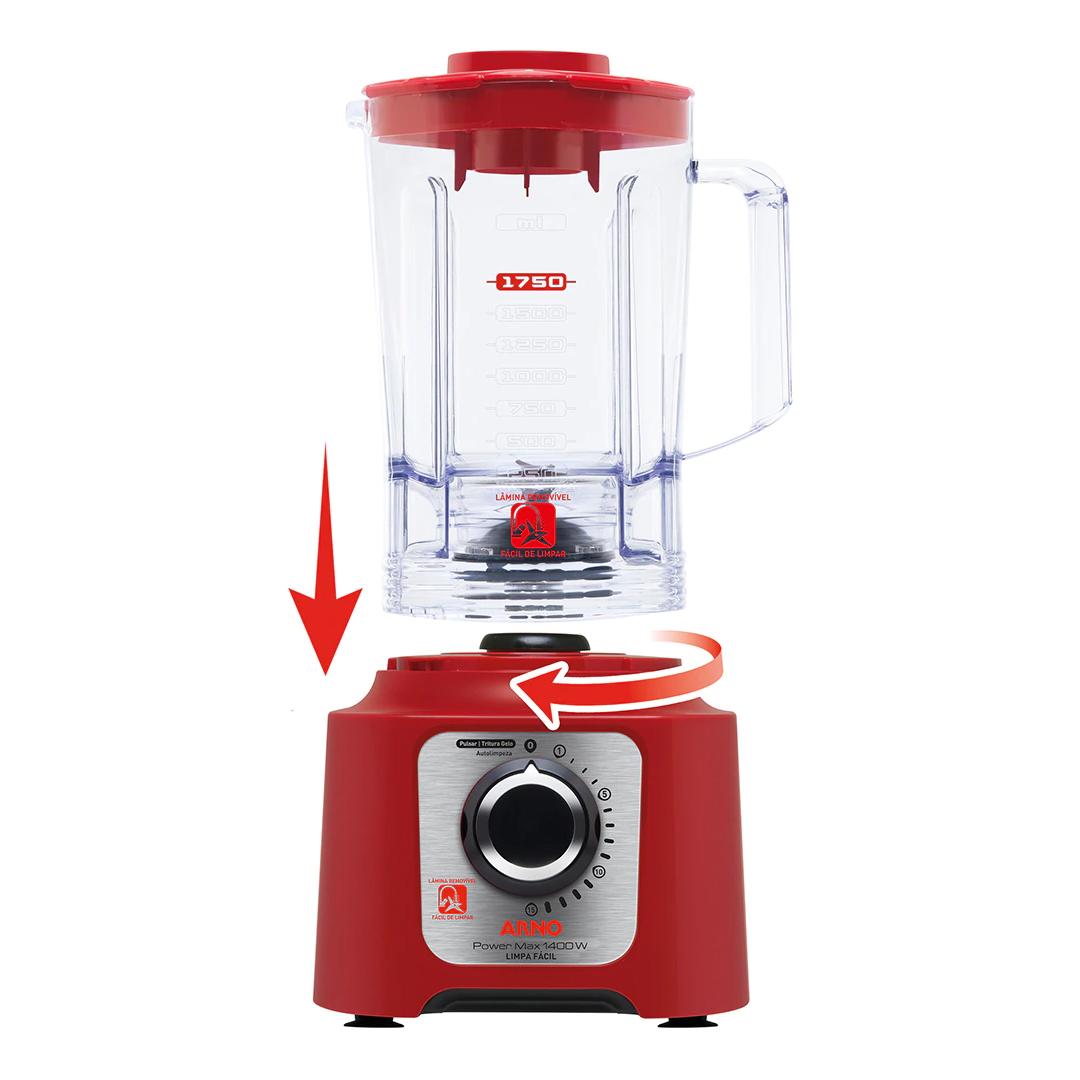 Liquidificador Arno Power Max LN56 Limpa Fácil 15 Vel. + Lâmina Removível 1400W
