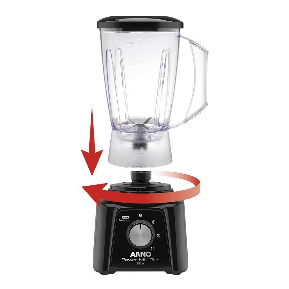Liquidificador Arno Power Mix Plus LQ20 com 3 Velocidades 550W ? Preto