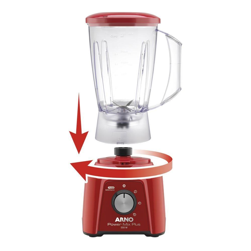 Liquidificador Arno Power Mix Plus LQ21 com 3 Velocidades 550W ? Vermelho