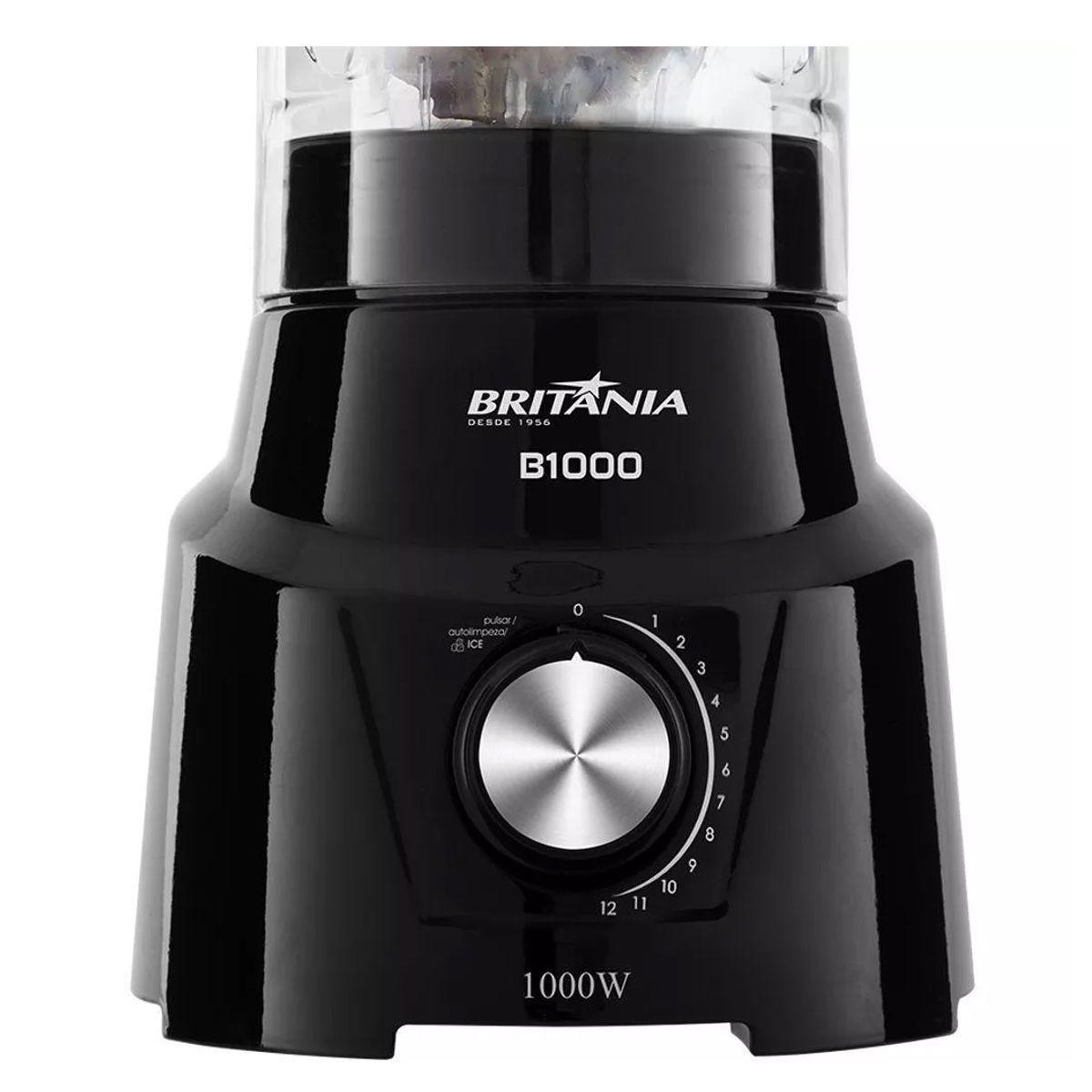 Liquidificador Britania B1000 12 Velocidades Copo 3L com Filtro 1200W - Preto