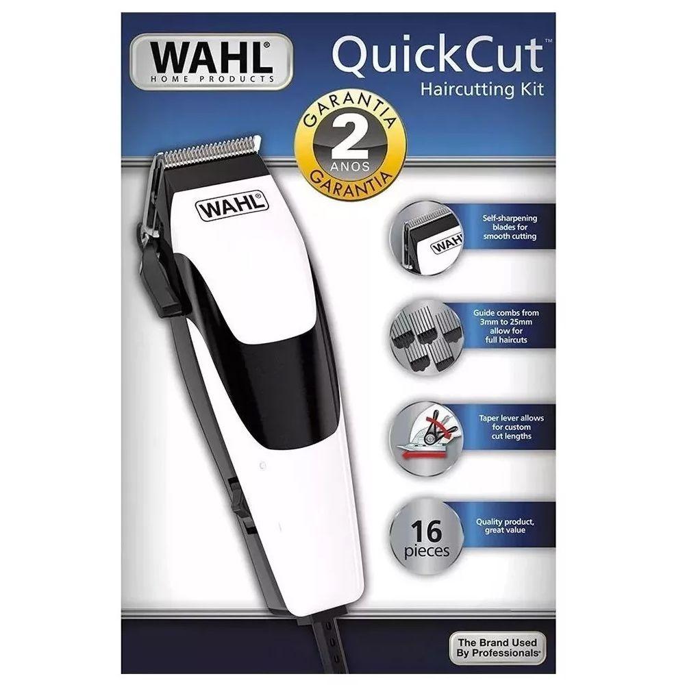 Máquina de Cortar Cabelos Wahl Quick Cut Branca 16 Peças