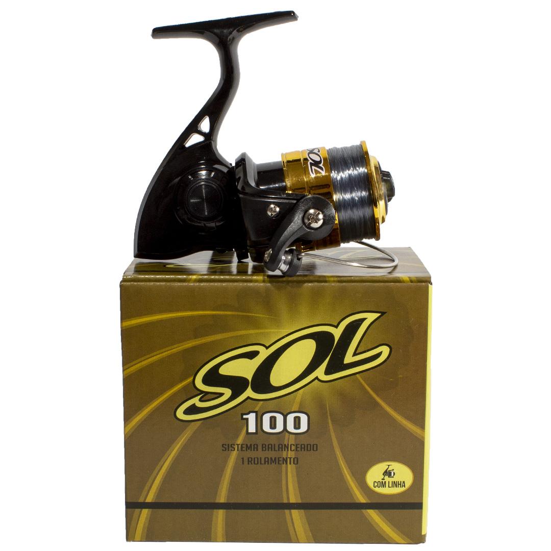 Micro Molinete de Pesca Marine Sports Sol 100 Com Linha
