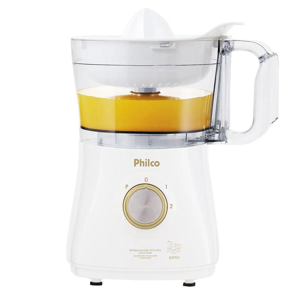 Multiprocessador Alimentos com Liquidificador Philco All In One Citrus Gold 800W