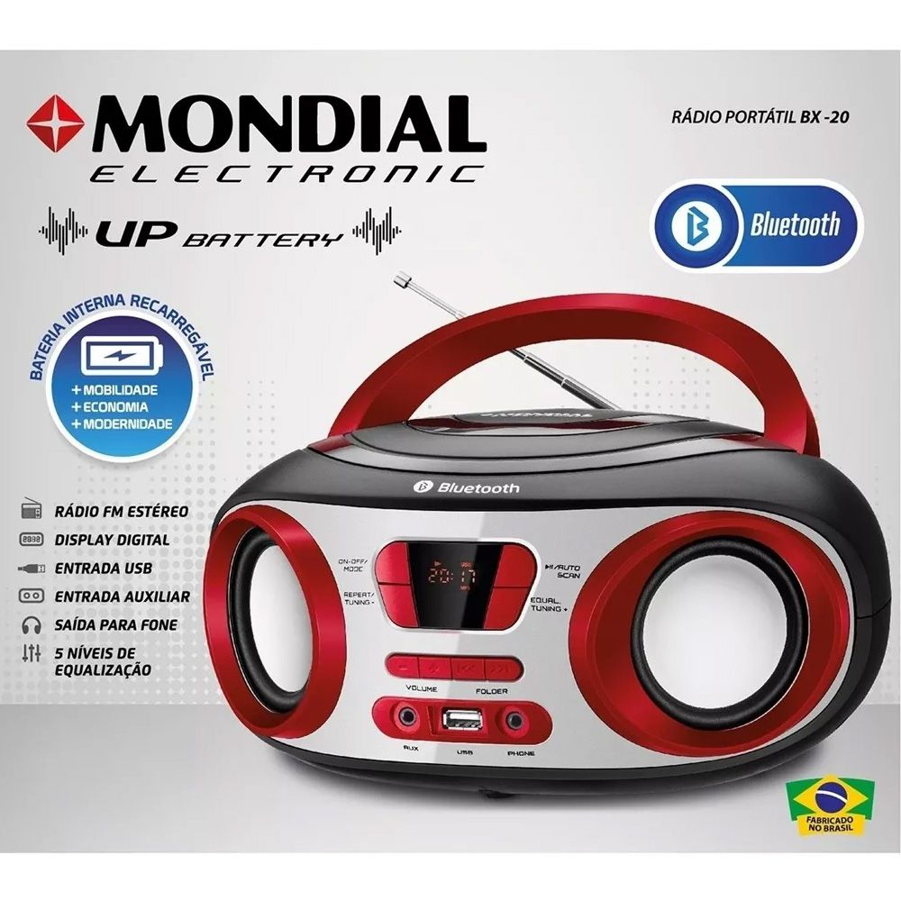 Rádio Portátil Mondial Boombox BX-20 Bluetooth FM USB Bateria Interna 8W Bivolt