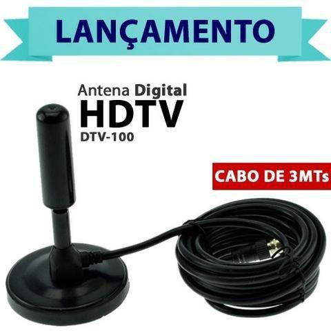 Antena Televisão Tv Digital Amplificada Interna Externa Resistente Agua Cabo 4.3 Metros
