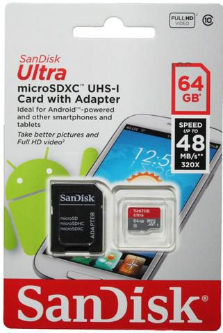 Cartão De Memória 64Gb Classe 10 Ultra Speed SD/Micro SD Para Câmeras Digitais Celular