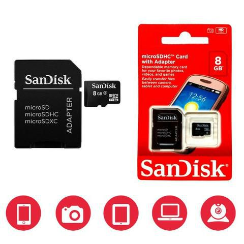 Cartão de Memória SanDisk microSDHC 8GB Classe 4 com Adaptador Incluso Tablet Smartphone