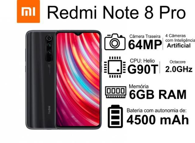 Celular Xiaomi Redmi Note 8 Pro Global 128GB 6GB RAM CPU G90T Bateria 4500 mAh Camera 64 Mega Pixels
