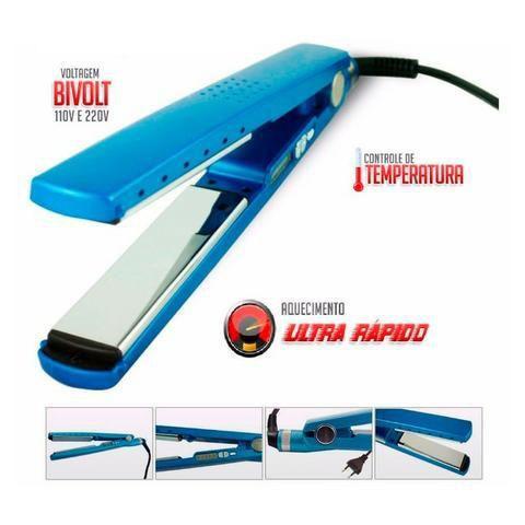 Chapinha Chapa Prancha Cabelo Nano Titanium Blue Profissional Bivolt 1 1/4 até 450ºf 230ºC