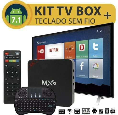 Kit Smart Tv Box Mx9 4GB Ram 32GB Rom Android 7.1 Netflix Youtube + Teclado Sem Fio Touch Pad para TV Box Retro Iluminado