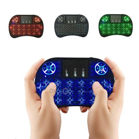 Mini Teclado Sem Fio Para Smart Tv TV Box Touch Pad Retro Iluminado Com LED