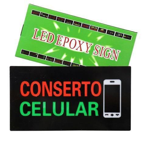 Painel Letreiro Luminoso de Led Conserto Celular Le-4004 Lelong Pisca Led Alto Brilho