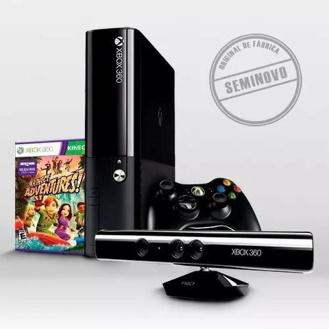 Video Game Xbox 360 Super Slim + Kinect + 2 Controles + 10 Jogos
