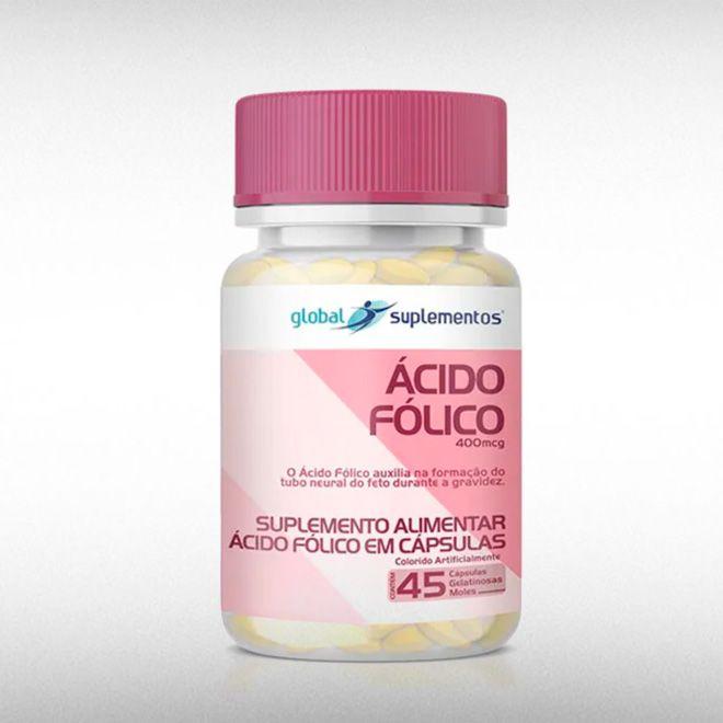 ÁCIDO FÓLICO 400 MCG (45CAPS) - GLOBAL SUPLEMENTOS  - BRASILVITA