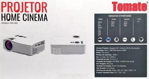 Projetor Home Cinema Tomate Mpr3003 700 Lumes Cine Portatil