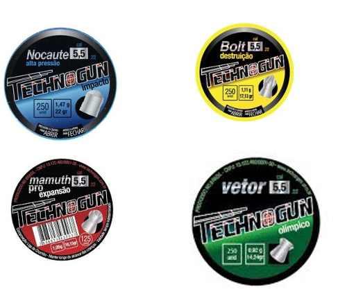 Chumbinho Technogun Kit 4 Vetor Bolt Mamuth Nocaute 5.5mm